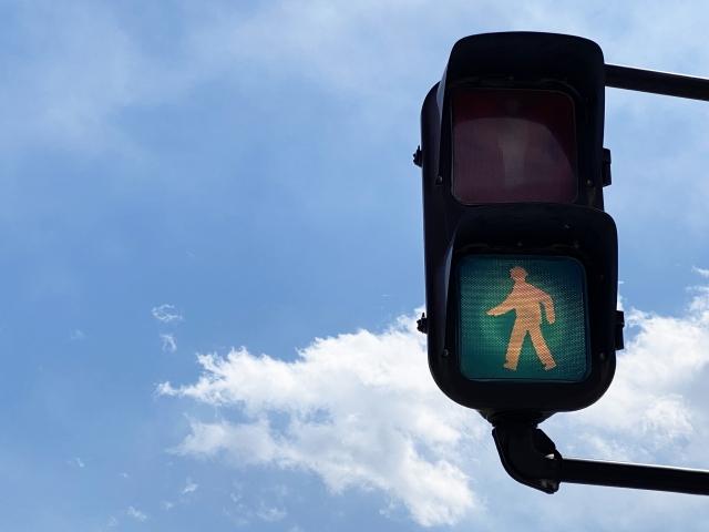 歩行者用信号青